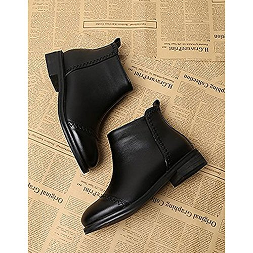 Heel Black Toe for Chunky PU Boots Boots Calf Women's Winter HSXZ Mid Casual Combat Shoes Boots Black ZHZNVX Round qwUxz8PZW