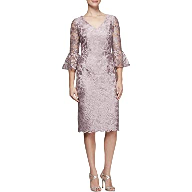 21da47e6e0deaa Alex Evenings Womens Bell Sleeves Knee-Length Special Occasion Dress at  Amazon Women's Clothing store: