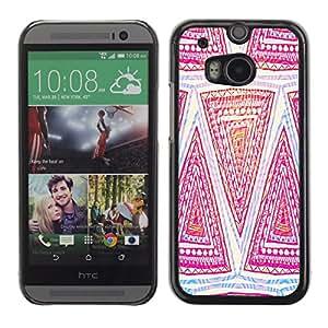 PC/Aluminum Funda Carcasa protectora para HTC One M8 Pattern Pink Art Hand Drawing / JUSTGO PHONE PROTECTOR