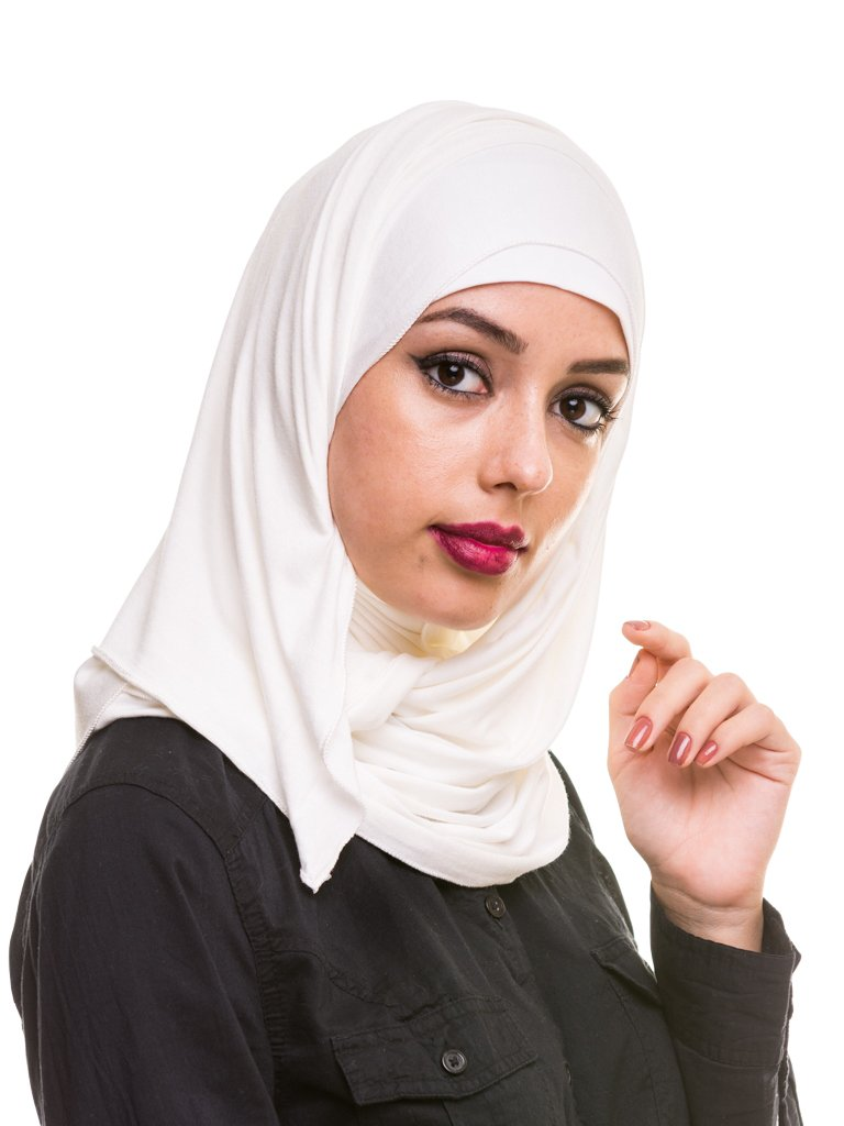 Kashkha Women's Plain Cotton Jersey Lightweight Hijab Scarf, Off White, 22inches Width*77inches Length /(55cm*200cm)