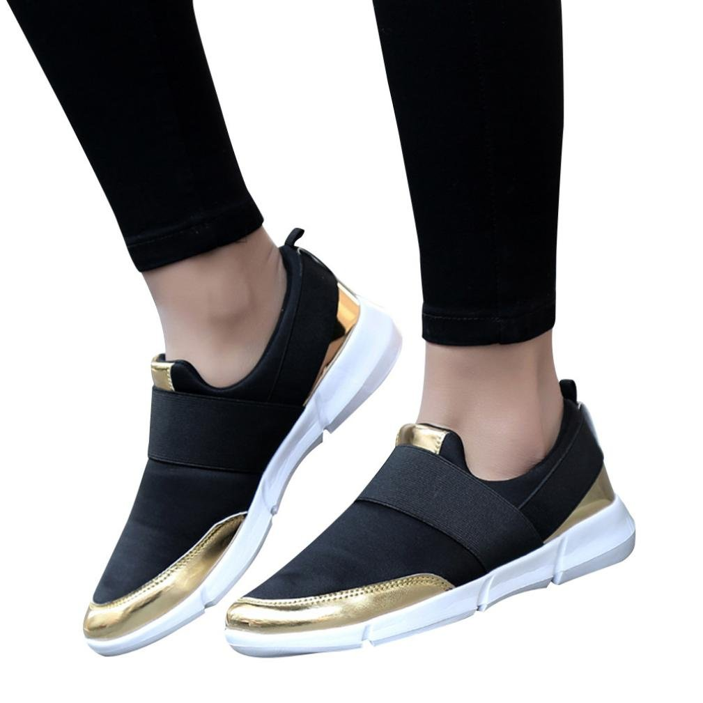 Clearance Sale! Women Sneakers, Neartime Spring/Autumn Mesh Casual Flat Breathable Sports Shoes Soft Running Gym Outdoor Shoes (US:7.5, Black)
