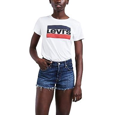 6fec8e0dc6b07 Camiseta Levis Feminina Logo Sportswear Branca  Amazon.com.br ...