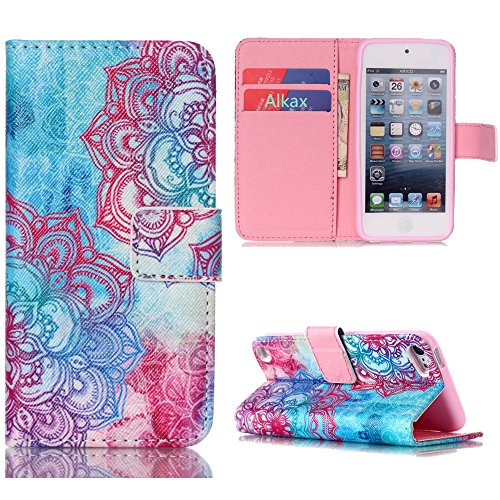 iPod Touch 5 Case , iPod Touch 6 Case, Alkax Premium PU Leather Wallet Kickstand Magnet Flip Folio STAND Protective Cover with Card ID Card Slots for Apple iPod Touch 5 6th Generation (Pink Flower)