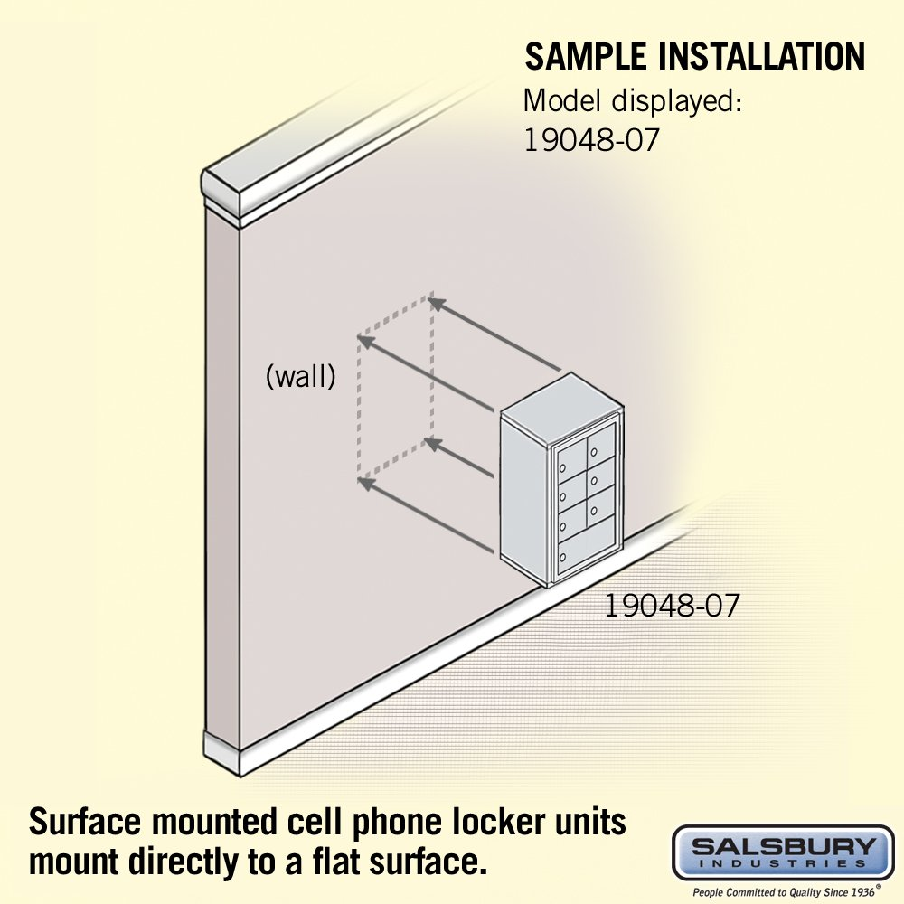Gold Salsbury Industries 19048-07GSK Cell Phone-4 Unit Surface Mounted-Master Keyed Locks with 8-Inch Diameter Compartments
