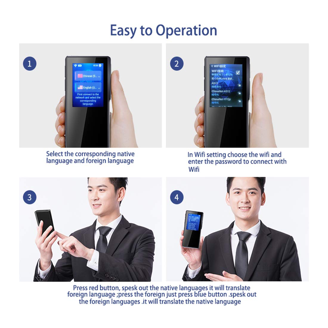 BUOTH Smart Voice Translator Device,70 Languages Instant Two Way Translation with 2.4 Inch Touch Screen Portable for Travelling Learning Business Shopping Meeting by Buoth (Image #7)