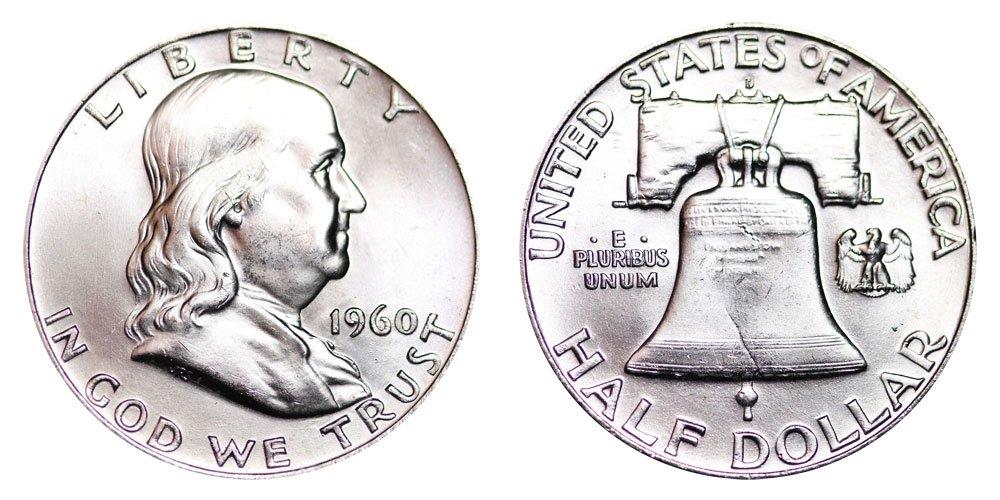 1960 Beautiful Brilliant Uncirculated Franklin Half 90/% Silver Coin 1//2 BU