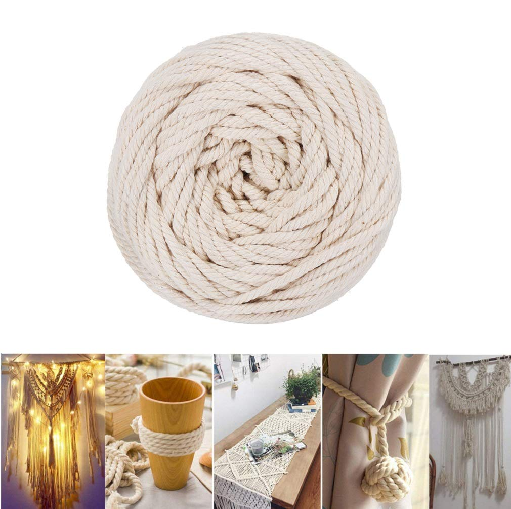 4mm Macrame Cord Natural Cotton Rope Handmade Macrame Hangings Wall Decor Plant Hanger Bohemia DIY Craft Knitting 109 yd,Beige