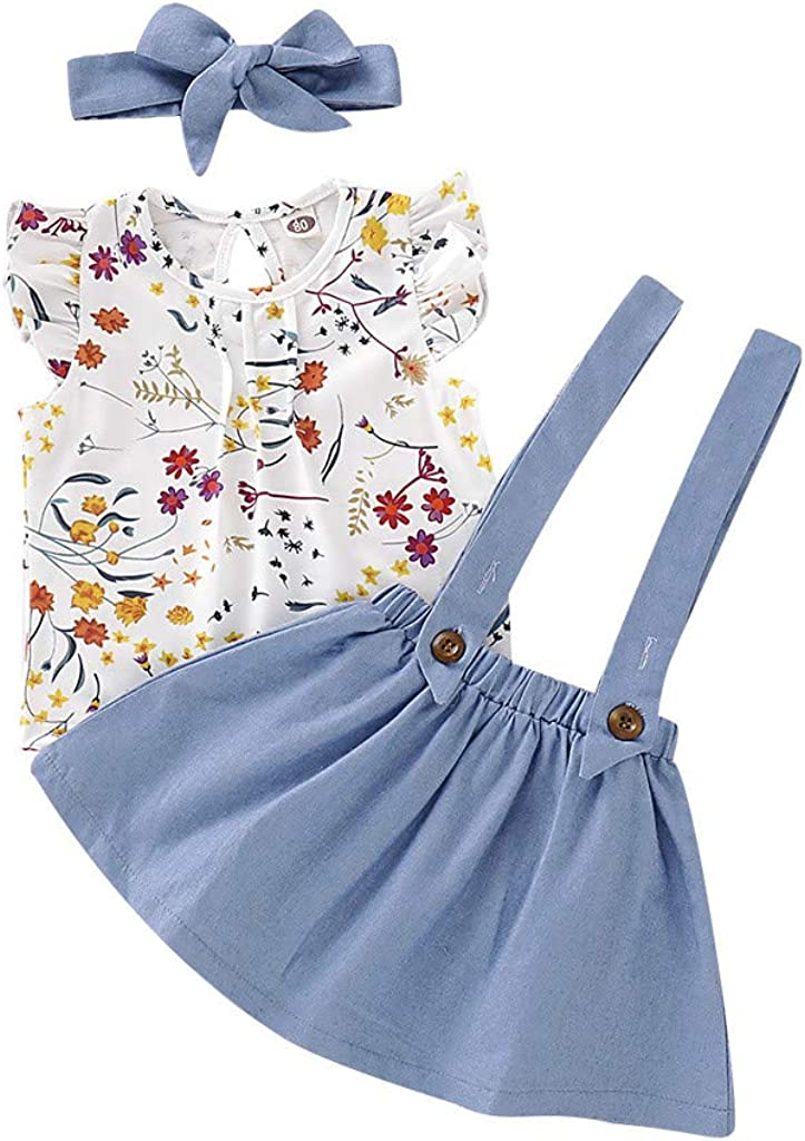 Toddler Infant Girl Short Sleeve T-Shirts Suspender Dress Headbands Outfits WOCACHI Baby Girls Overalls Skirts Sets