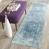 Safavieh Valencia Collection VAL205R Blue and Multi Distressed Center Medallion Silky Polyester Runner (23 x 10)