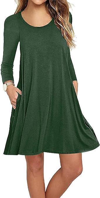 Sanifer Women's Short Sleeve Cotton T-Shirt Dress Swing Tunic Dress with Pockets