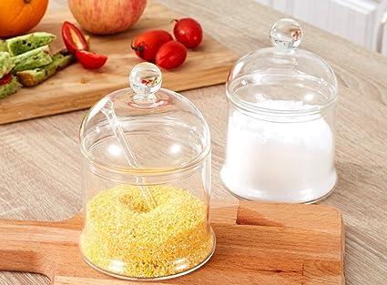 HCJTLP FJXLZ® Caja De Sazonar Cajas De Sal De Vidrio Combinación De Especias Jar Cuarto