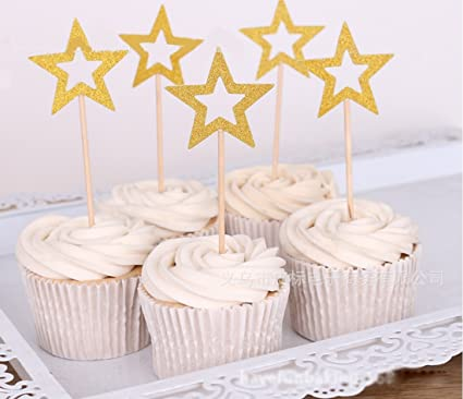 Sinrier 48 Pcs Star Cupcake ToppersStar Toppers Twinkle Little Decorations Birthday