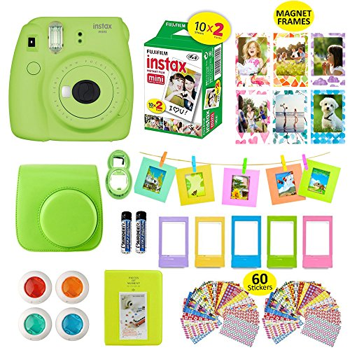 Fujifilm Instax Mini 9 Film Camera LIME Instant Camera + 20 Instant Fuji-Film Shots, Instax Case + 14 PC Instax Accessories Bundle, Fuji Mini 9 Kit Gift, 2 Albums, Lenses, Magnets Frames by (Leather Photo Pack)