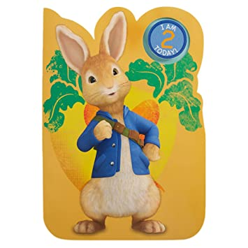 Hallmark Peter Rabbit 2nd Birthday Card With Badge