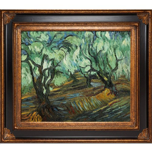 ree Framed Oil Reproduction of an Original Painting by Vincent Van Gogh, Corinthian Frame, Black and Gold Finish ()