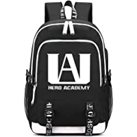 Memoryee My Hero Academia Print Backpack Middle School College Bag Laptop Daypack with USB Charging Port