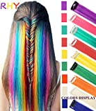 RHY 9PCS Princess Party Highlight Clip in Colored Hair Extension Costumes Wig for Baby Girls&Dolls(Rainbow Color)