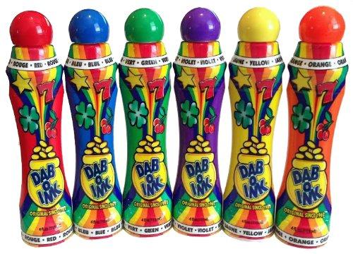 Dab-O-Ink 6 Pack Bingo Daubers - Mixed Colors - 4 oz.