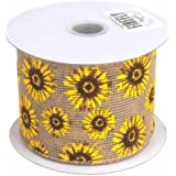 Sun Flowers Faux Burlap Ribbon Wired Edge, 10 Yards (2-1/2-Inch)