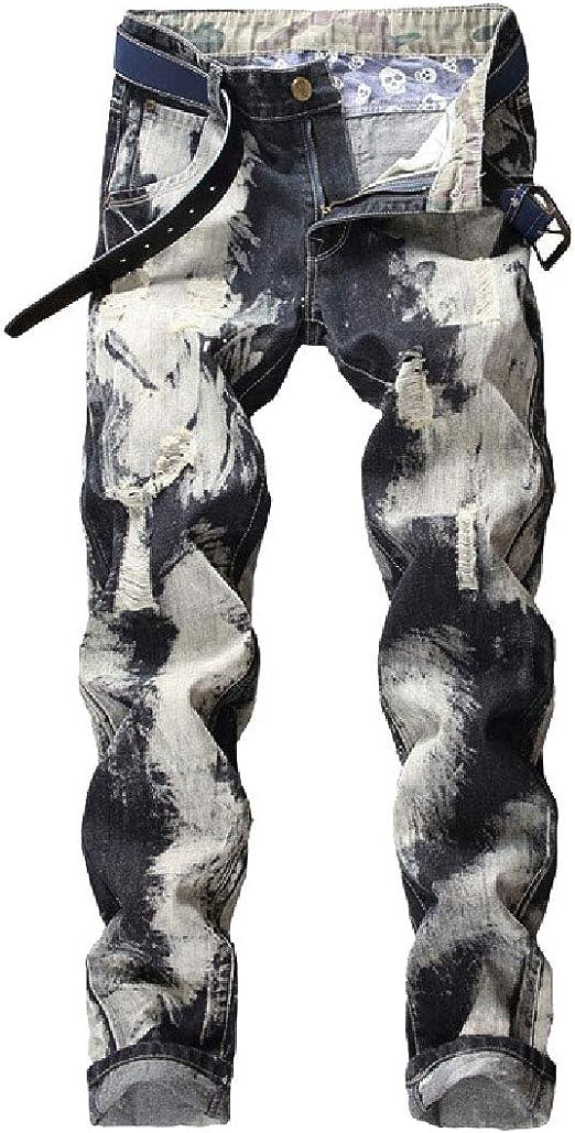 AngelSpace Men Washed Hole Middle Waist Pockets Fashion Slim Fit Denim Pants