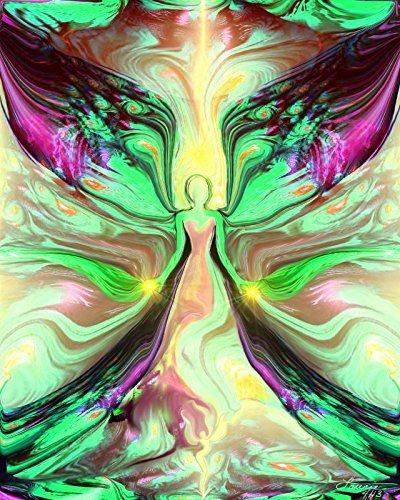 Angel Wall Decor, Green Wall Art, Green Psychedelic Art,