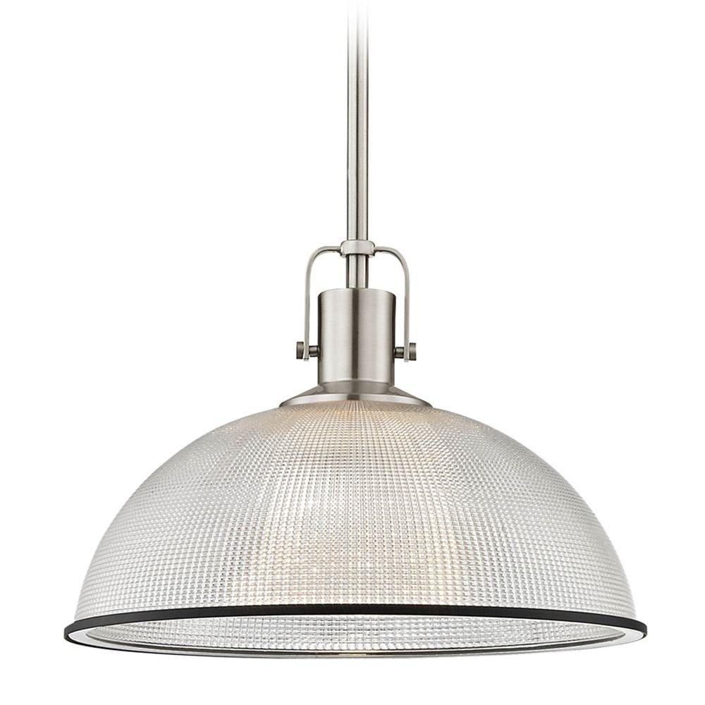 Industrial Prismatic Pendant Light Nickel / Black 13.13-Inch Wide