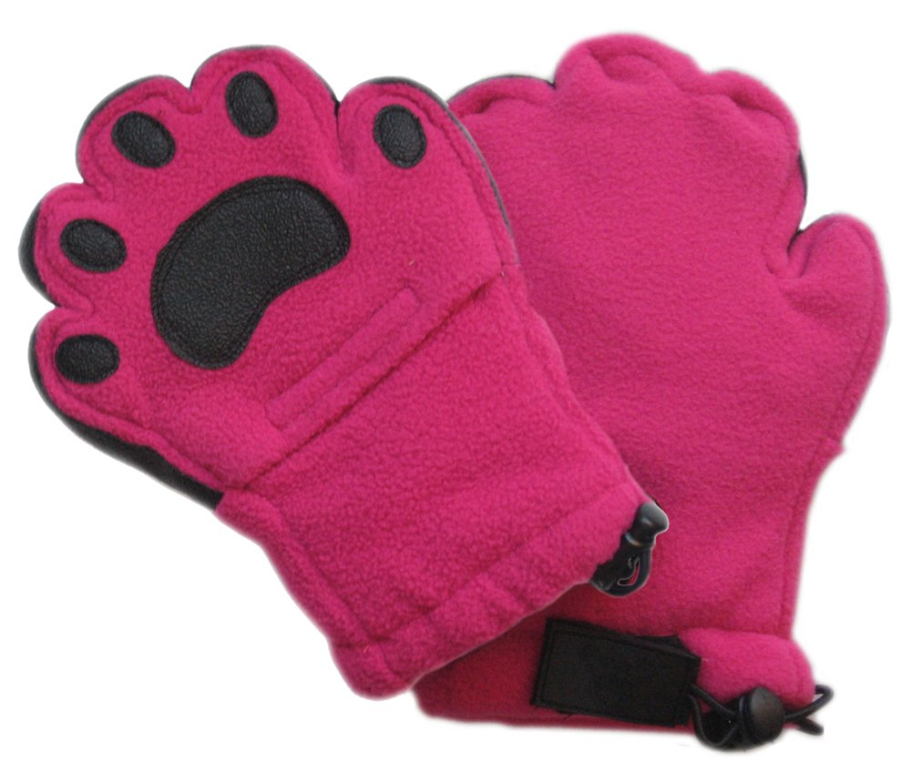 BearHands ThinsulateTM Fleece Mittens - with handy flap opening for when fingers are needed! (Child Small 3-7 years) - Fuchsia Pink