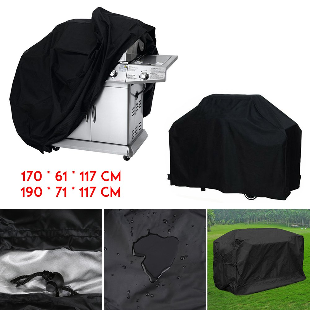 Black BBQ Covers Barbeque Grill Cover Waterproof Weber Waterproof Dustproof Rain Snow Breathable Protector Littleducking