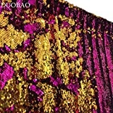 DUOBAO Sequin Backdrop 20FTx10FT Fuchsia to Gold Shimmer Backdrop Mermaid Reversible Sequin Backdrop Curtain Bridal Shower Photo Booth Backdrop