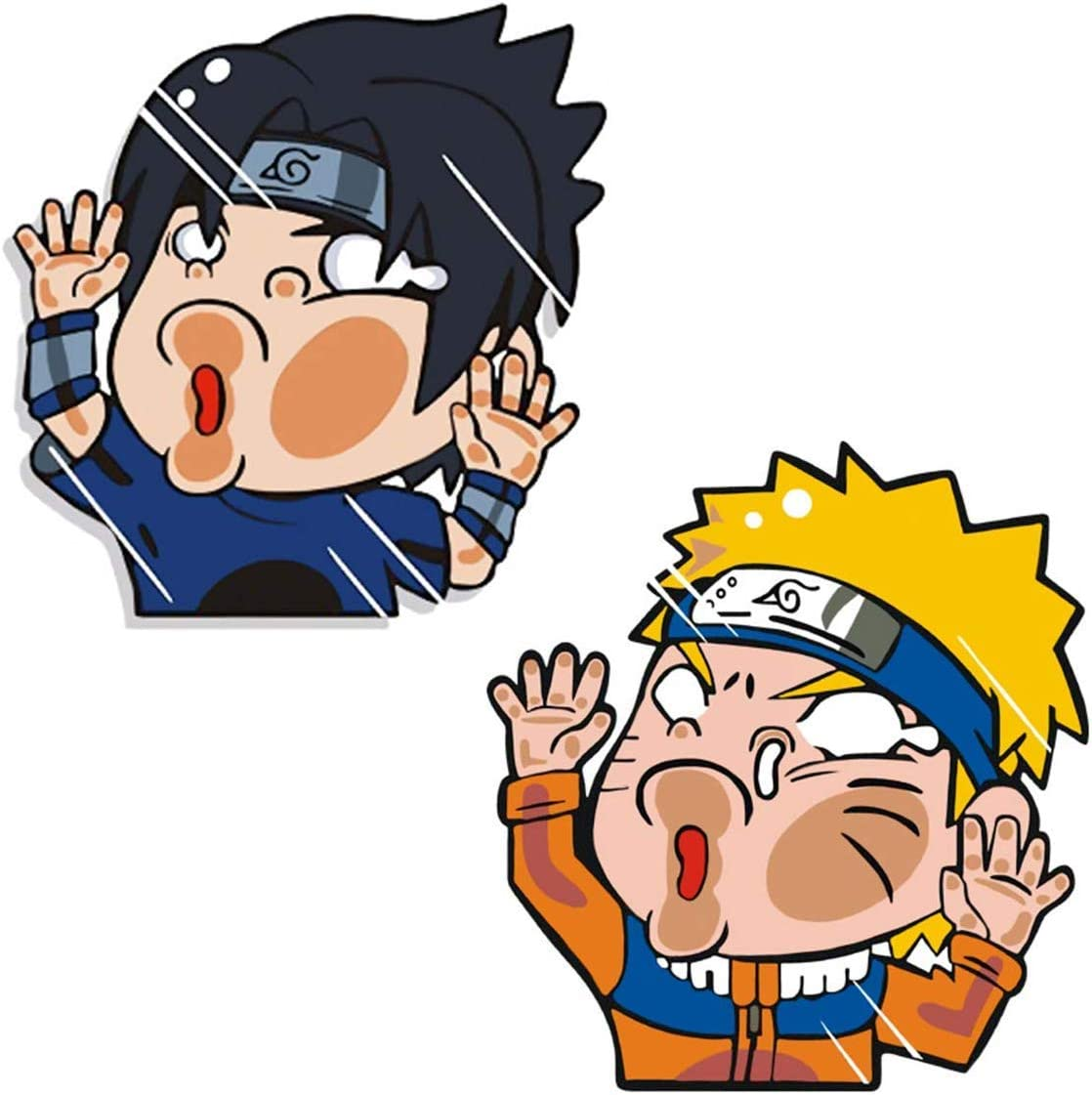 Smart-Naruto & Sasuke Funny colorful set of decals Hitting Glass Vinyl Stickers for Car/Window/Laptop/Walls