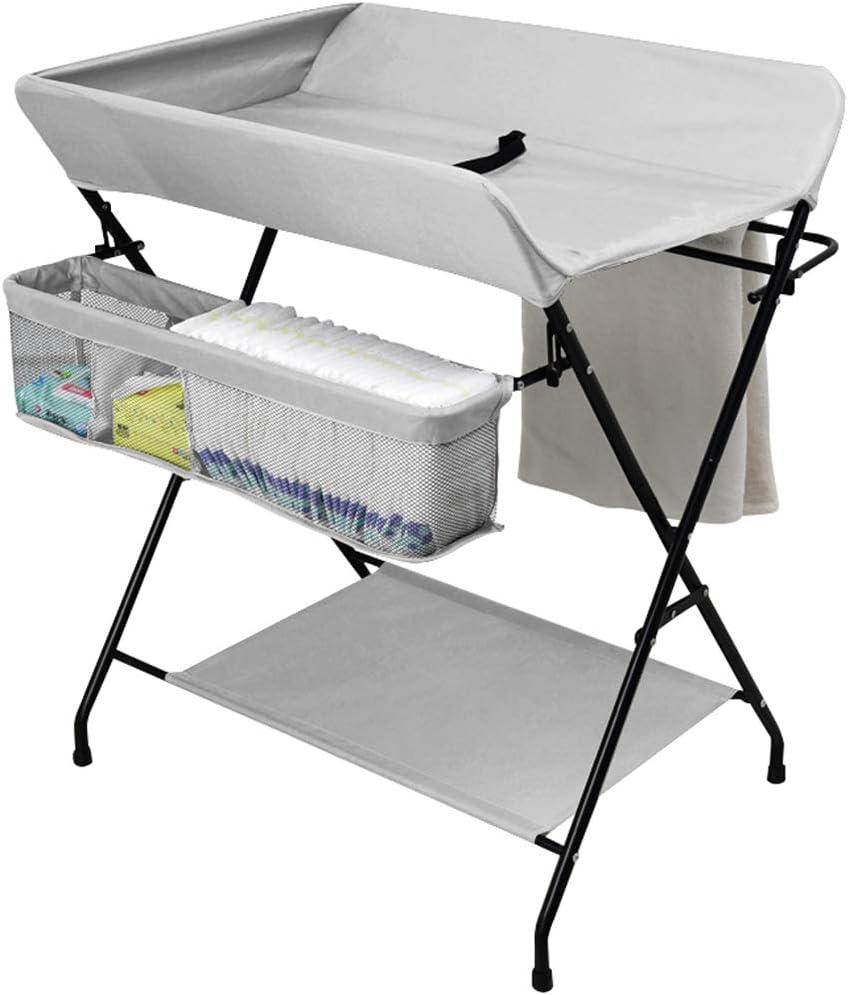 赤ちゃん おむつテーブルを変える、 折りたたみ式 グレー マッサージステーション、 ポータブル 幼児 ドレッサー、 新生児 0〜3歳、 クロスレッグスタイル