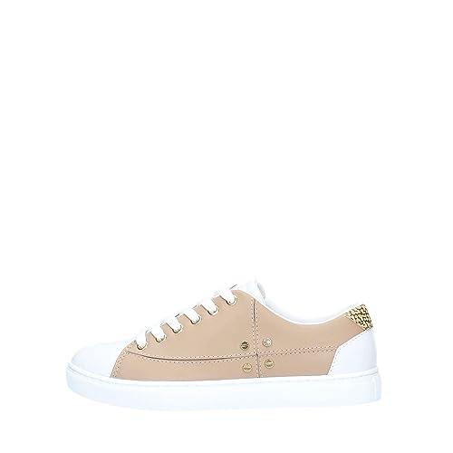 finest selection 12867 ca63d Borbonese Scarpe Donna Sneaker in Pelle Mandorla/Bianco/OP ...