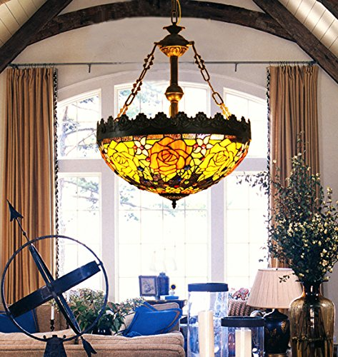 Makenier Vintage Tiffany Style Stained Glass Rose Flower Large Inverted Ceiling Pendant Lamp, 20 Inches Lampshade (Large Lamp Tiffany Pendant)