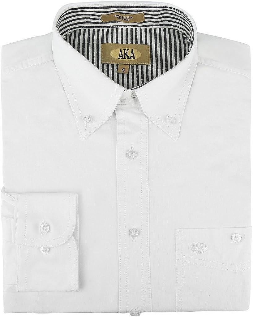AKA Mens Regular Fit Long Sleeve Button Down Solid Dress Shirt