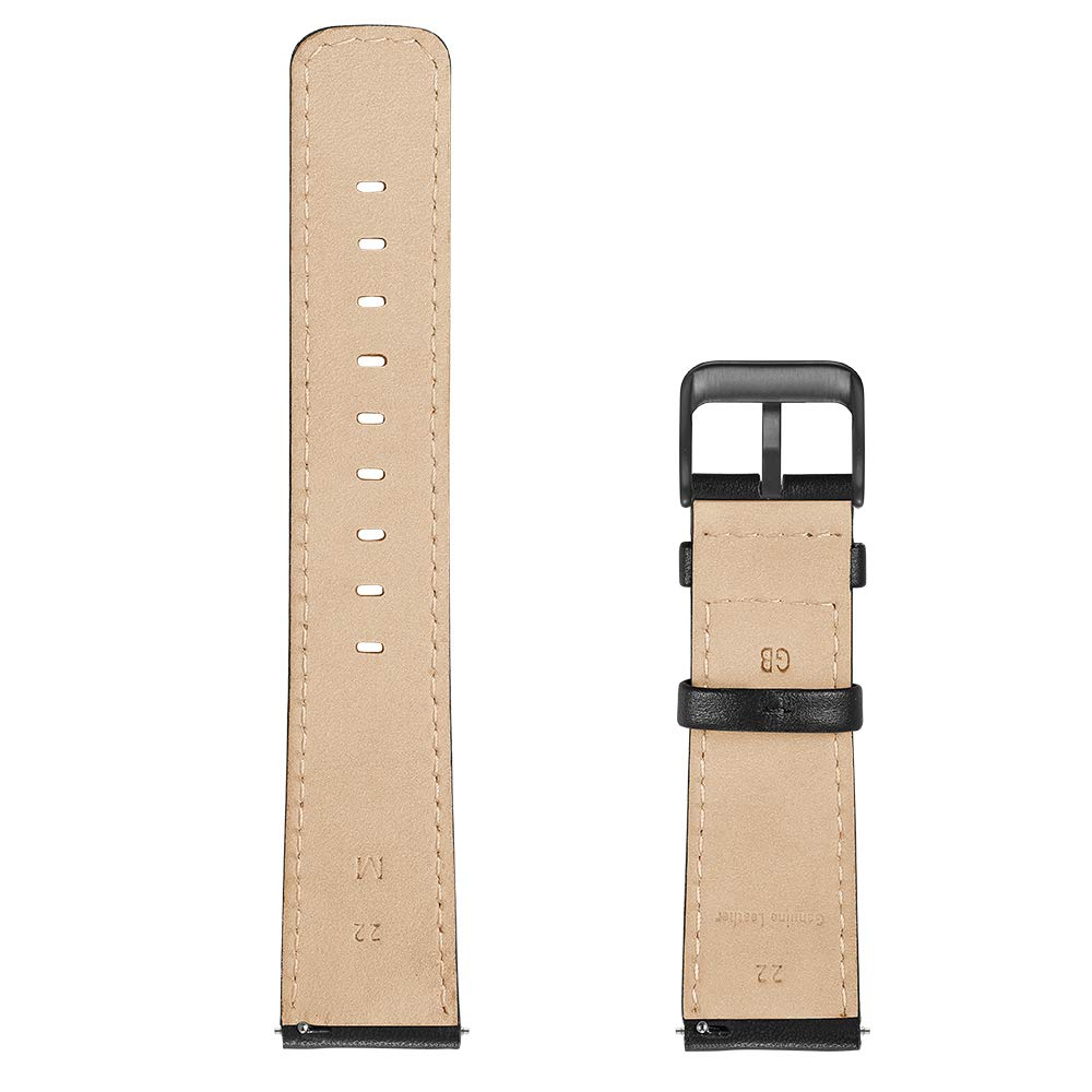 22mm Watch Band, LEUNGLIK Quick Release Leather Watch Strap Replacement Bands with Black/Brown/Gray Stainless Pins Clasp by LEUNGLIK (Image #3)