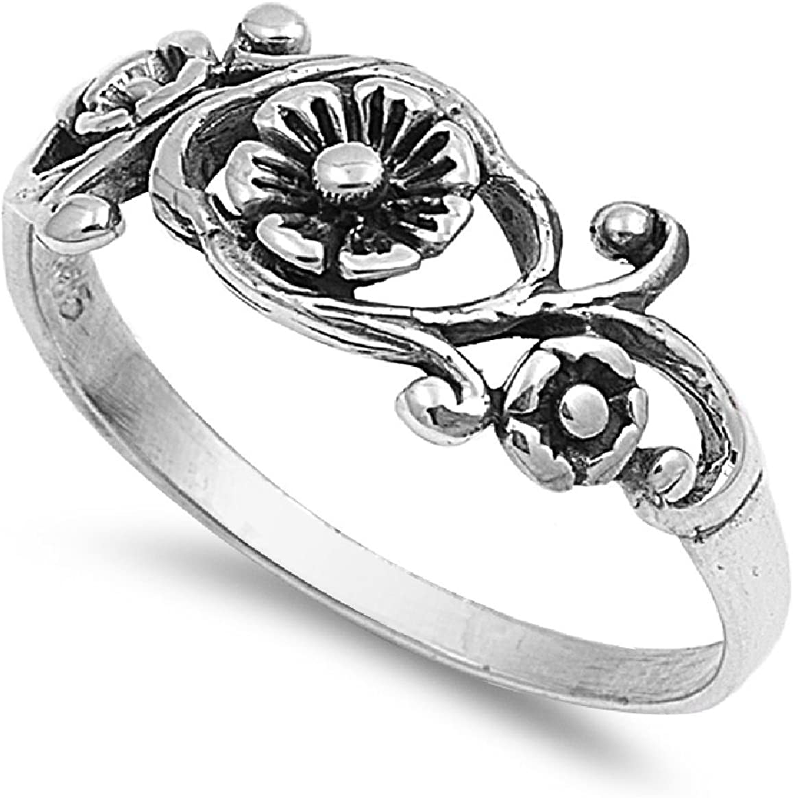 CloseoutWarehouse Sterling Silver Antique Filigree Flower Ring (Color Options, Sizes 2-13)