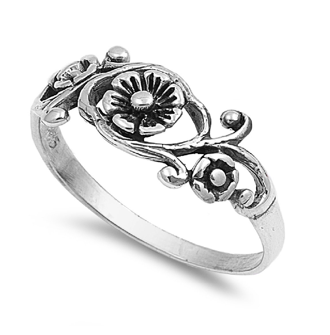 CloseoutWarehouse Sterling Silver Antique Filigree Flower Ring Size 11