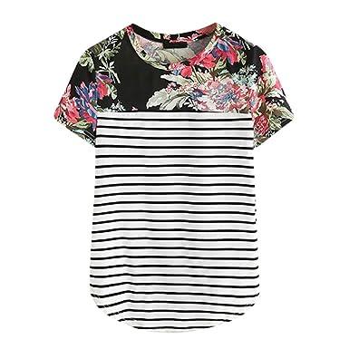 Amazon.com: Camiseta de manga corta con estampado floral y ...