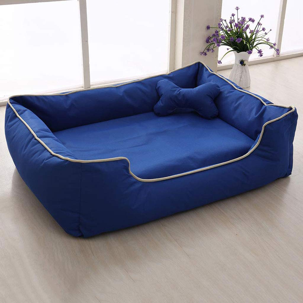 bluee XL 12090cm bluee XL 12090cm Removable And Washable Pet Nest Teddy Kennel Mat Large And Medium Small Dog Four Seasons Dog Bed (color   bluee, Size   XL 120  90cm)