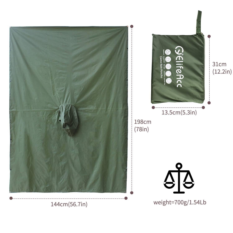 Estera para s/ábanas para Tiendas de campa/ña ElifeAcc Poncho con Capucha Multifuncional para la Lluvia Impermeable Impermeable Actividades al Aire Libre Lonas para sombrillas