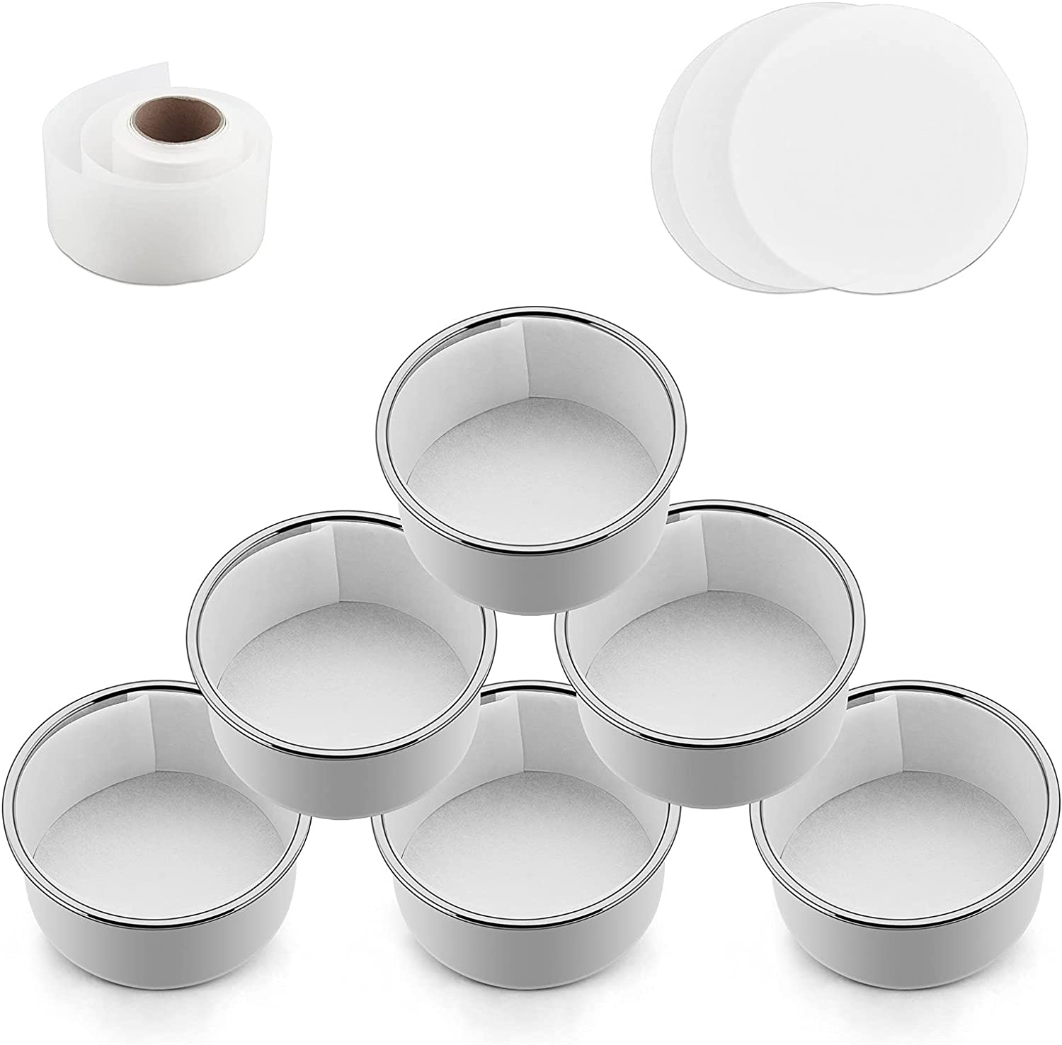 TeamFar 4 Inch Cake Pans, Stainless Steel 6 PCS Small Round Cake Pan with 180 Parchment Paper & Side Liner Roll (1.85in x 111 ft), Non-Toxic & Durable, Non-Stick & Heat-Resistant, Dishwasher Safe