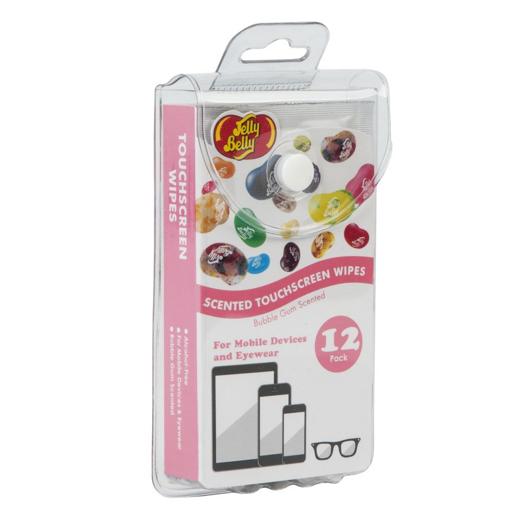Jelly Belly Bubble Gum Scented Alcohol Free Touchscreen Wipes for Mobile Devices and Eyewear (12-Pack)