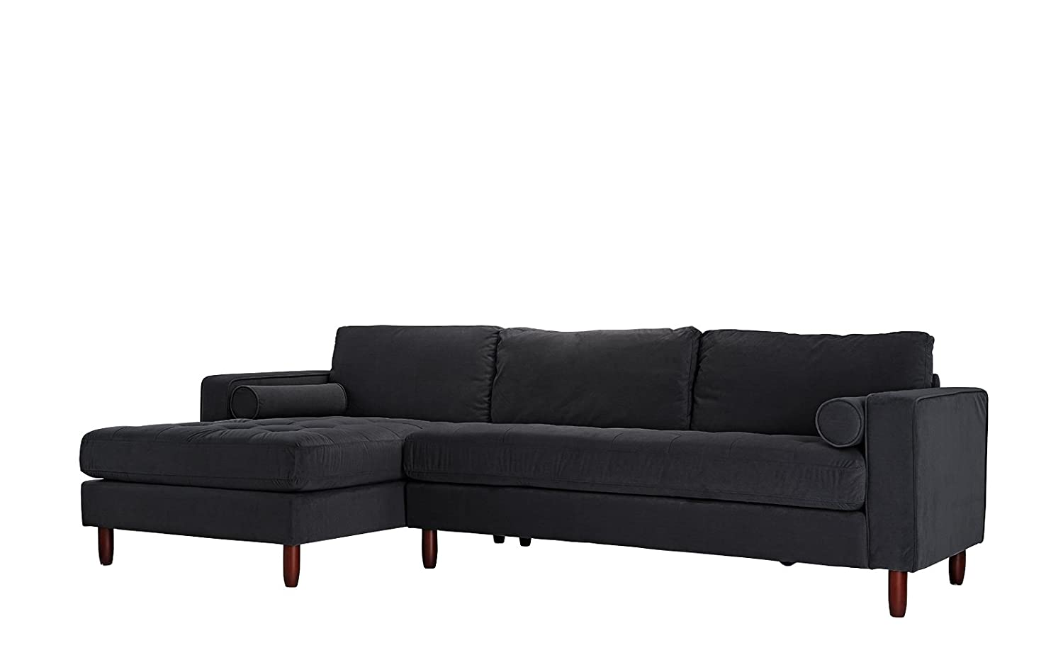 Divano Roma Furniture Mid-Century Modern Tufted Velvet Sectional Sofa,  L-Shape Couch with Extra Wide Chaise Lounge (Black)