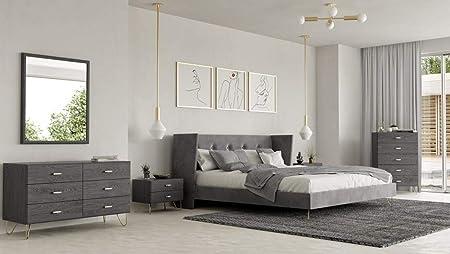 Amazon.com: Charcoal Velvet Queen Bedroom Set 6 Pcs Modrest ...