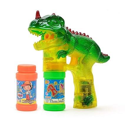 AOLVO Dinosaur Pistola de Burbujas Shooter Juguete Burbujas Blaster, iluminar Burbujas con LED Intermitente Luces