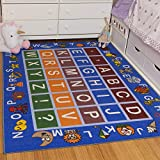 Ottomanson Jenny Collection Light Blue Frame with Multi Colors Kids Children's Educational Alphabet (Non-Slip) Area Rug, Blue, 3'3' X 5'0'
