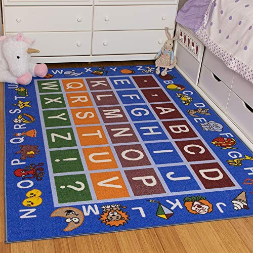 Ottomanson Jenny Collection Light Blue Frame with Multi Colors Kids Children's Educational Alphabet (Non-Slip) Area Rug, Blue, 5'0' x 6'6'