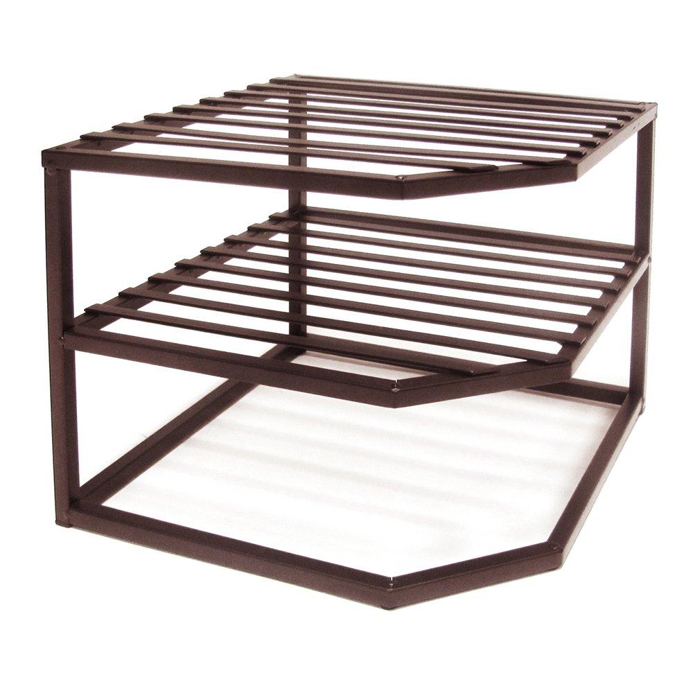 Seville Classics 2-Tier Corner Shelf Counter and Cabinet Organizer, Bronze