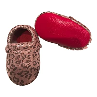 Baby Girls Pink Leopard Red Soft Sole Suede Exotic Moccasin Crib Shoes 3-18M