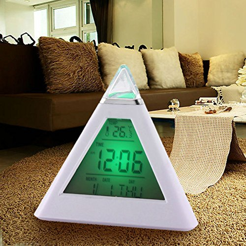 Lcd Alarm Clock - 7 Led Color Lcd Alarm Clock Pyramid Digital Thermometer Time Display Desktop Luminova Electronic - For Battery Operated Bedrooms Usb Atomic Led Calendar